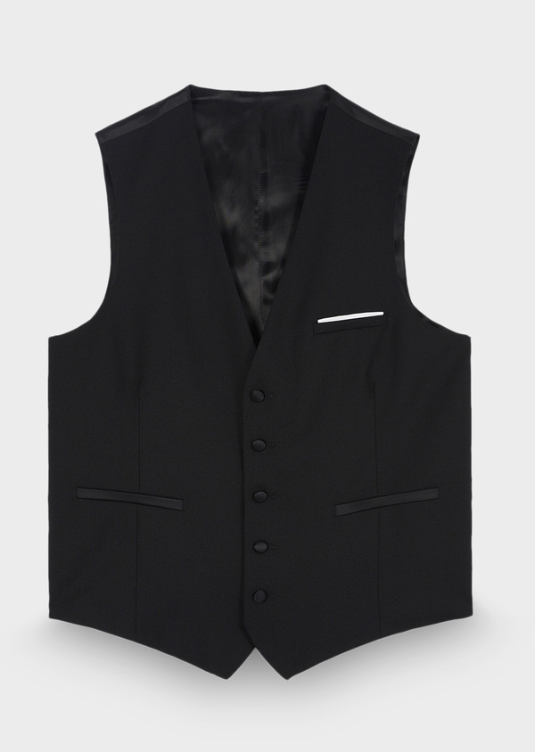 Gilet de smoking coordonnable en laine unie noire - Father and Sons 28728