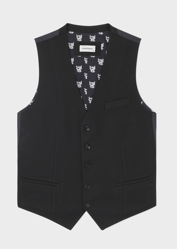 Gilet casual Edition Limitée Ardif uni noir - Father and Sons 33818