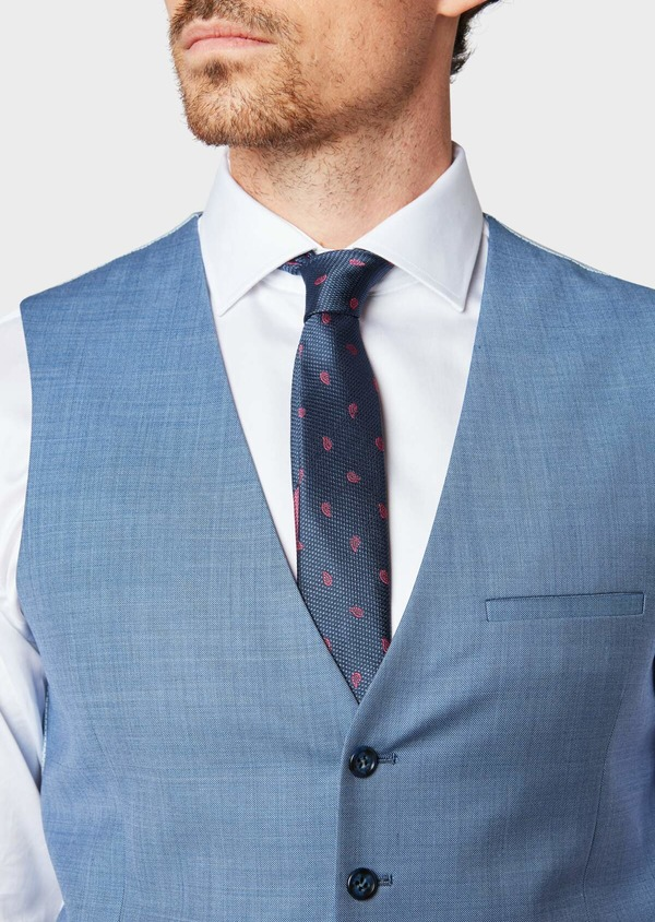 Gilet de costume en laine unie bleue - Father and Sons 33089