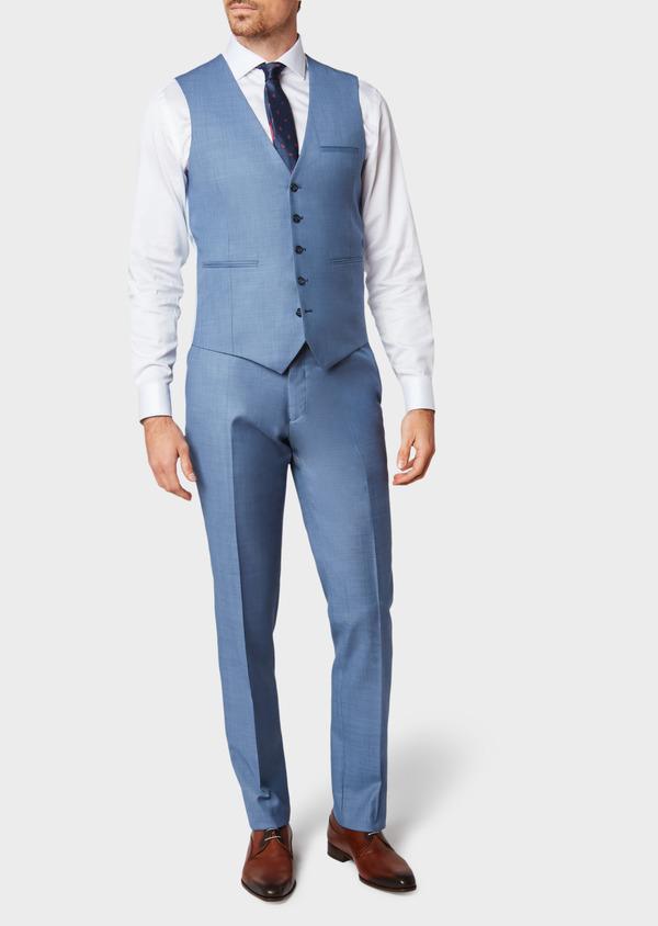 Gilet de costume en laine unie bleue - Father and Sons 33087