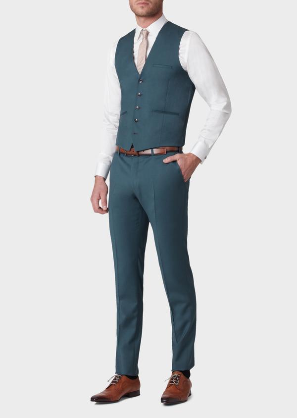 Gilet de costume en laine unie vert foncé - Father and Sons 33850