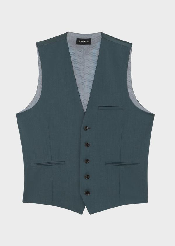 Gilet de costume en laine unie vert foncé - Father and Sons 33848