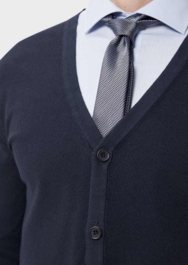 Cardigan boutonné en coton uni bleu marine - Father and Sons 34546