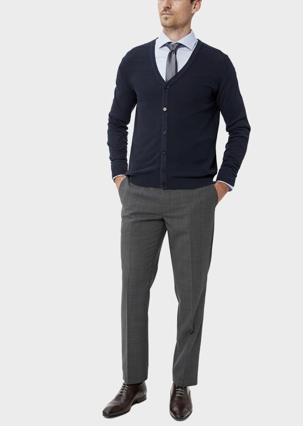 Cardigan boutonné en coton uni bleu marine - Father and Sons 34544