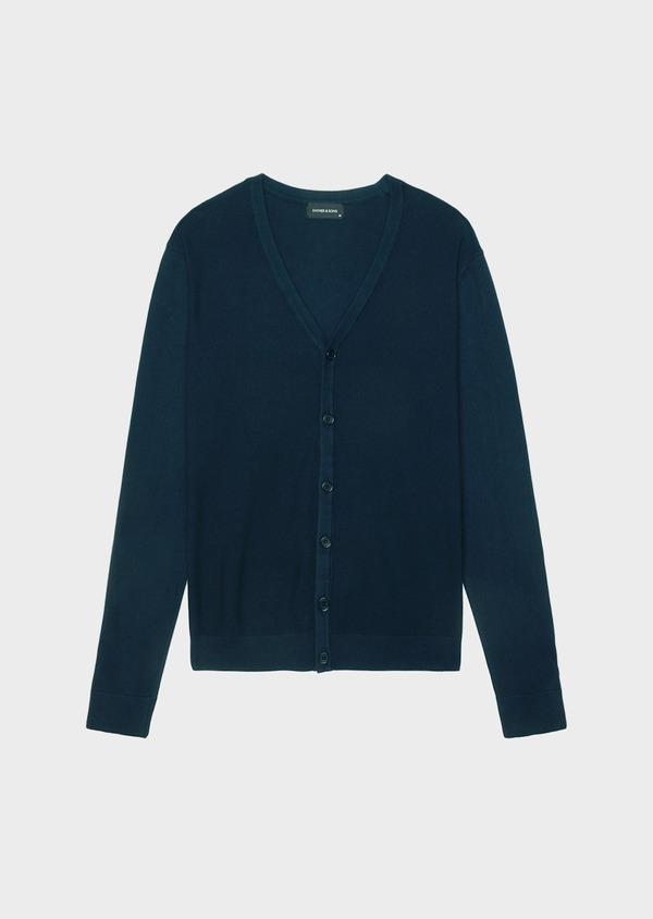 Cardigan boutonné en coton uni bleu marine - Father and Sons 34542