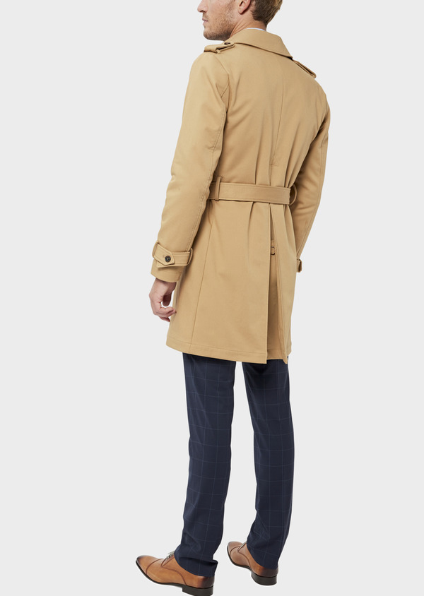 Trench droit double boutonnage uni camel - Father and Sons 36338