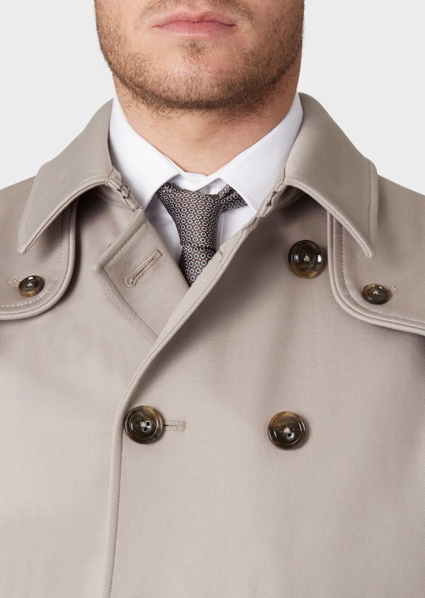 Trench droit double boutonnage uni beige - Father and Sons 33869