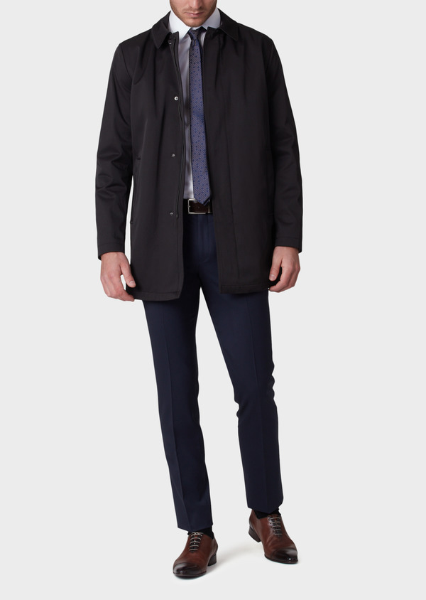 Trench droit uni noir - Father and Sons 33874