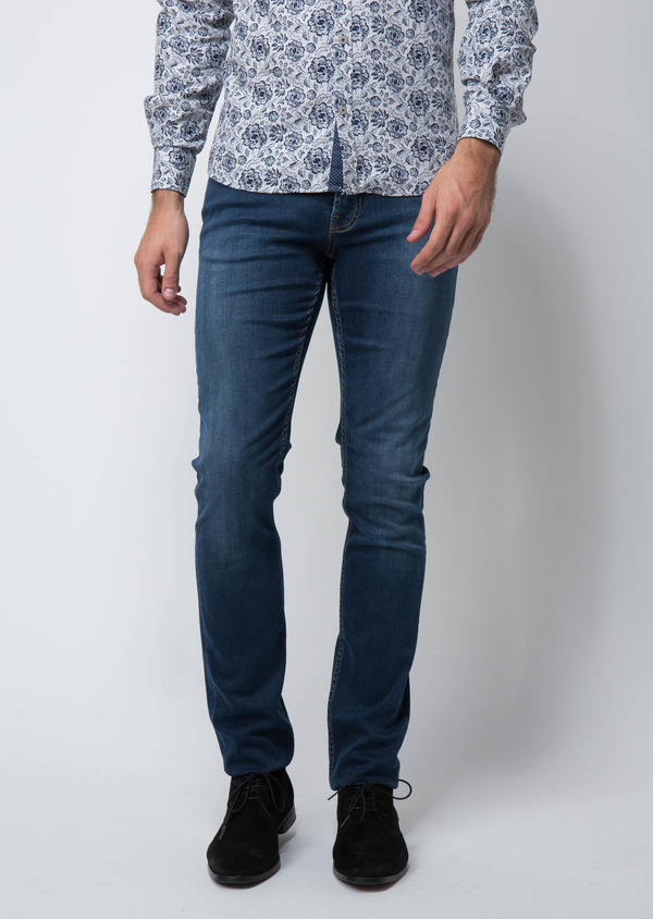 Jean skinny en coton hyperflex bleu - Father and Sons 29119