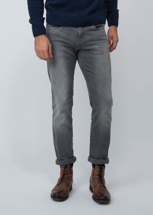 Jean skinny en coton stretch gris clair - Father and Sons 30153