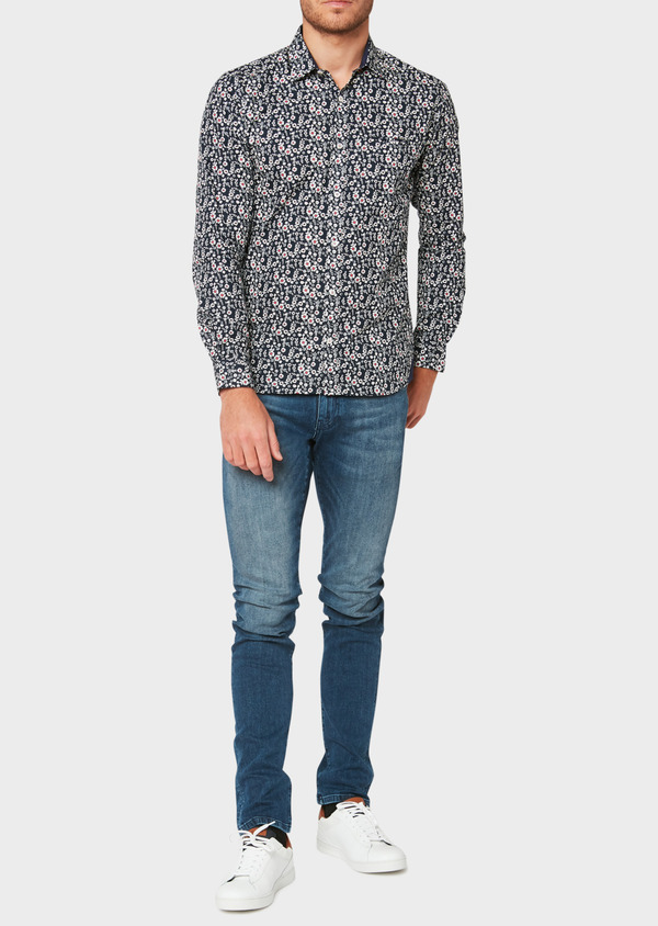 Jean skinny en coton stretch délavé bleu - Father and Sons 33174