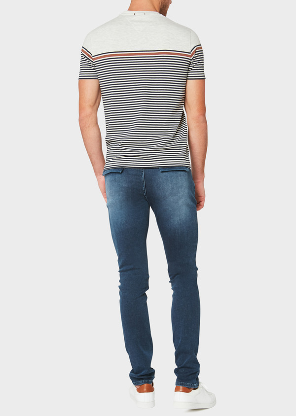 Jean skinny en coton stretch délavé bleu marine - Father and Sons 33181