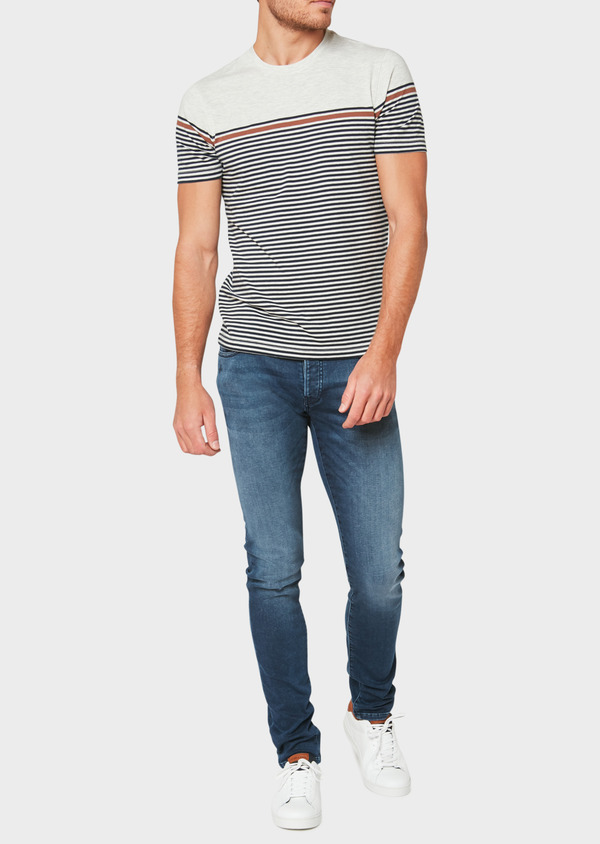 Jean skinny en coton stretch délavé bleu marine - Father and Sons 33180