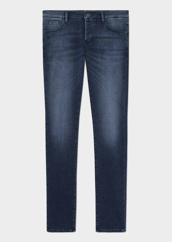 Jean skinny en coton stretch délavé bleu marine - Father and Sons 33178