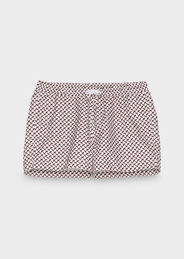 Maillot de bain blanc à motifs géométriques rose foncé et marine - Father and Sons 18310