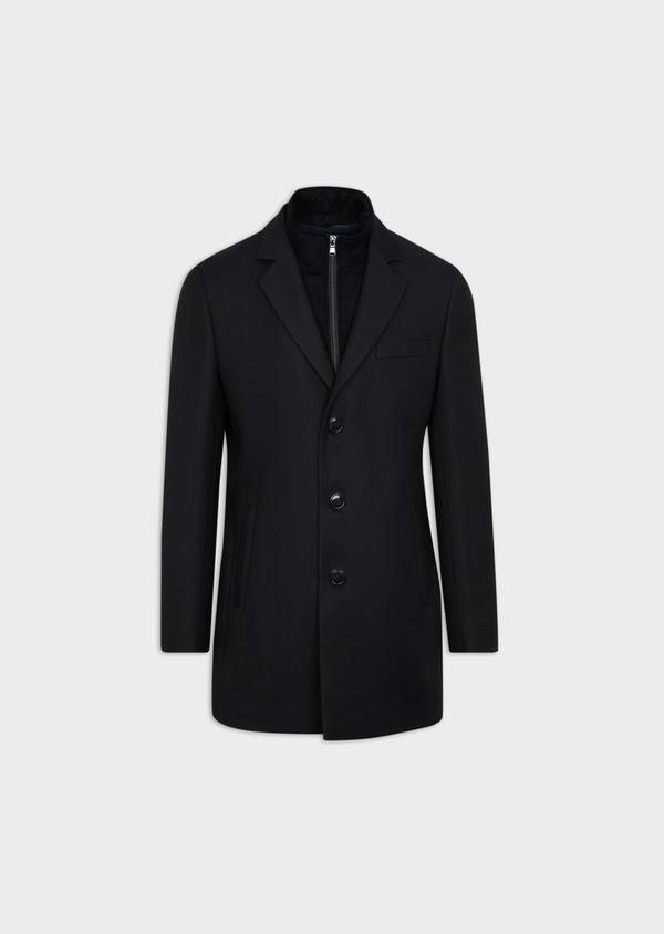 Manteau en laine mélangée unie bleu marine avec parementure amovible en suédine - Father and Sons 37656