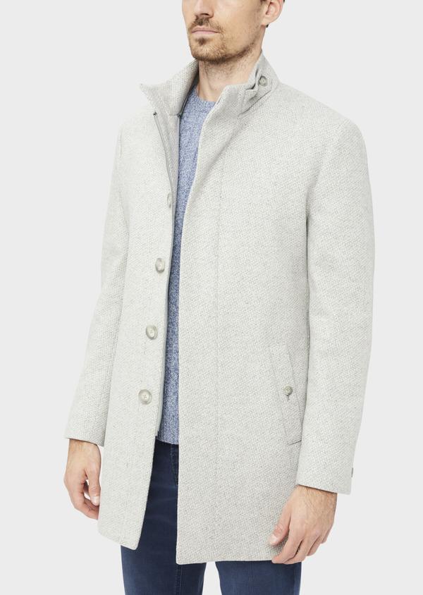 Manteau en laine mélangée grise à motif fantaisie - Father and Sons 36970