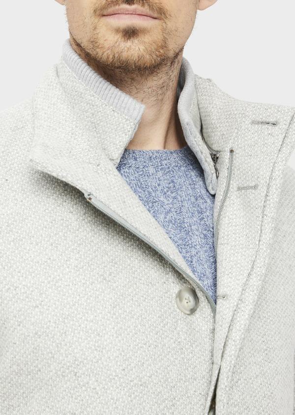 Manteau en laine mélangée grise à motif fantaisie - Father and Sons 36968