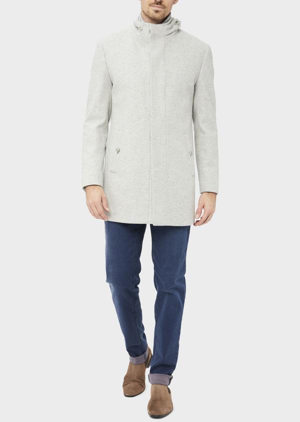 Manteau en laine mélangée grise à motif fantaisie - Father and Sons 36966
