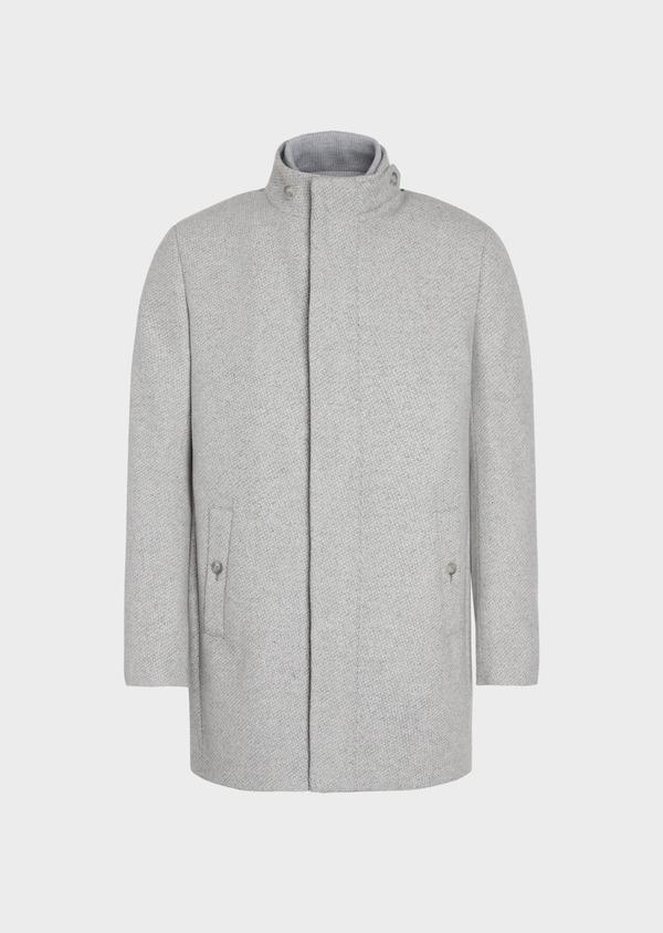 Manteau en laine mélangée grise à motif fantaisie - Father and Sons 36964