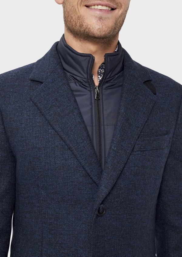 Manteau en laine mélangée bleu indigo à motif fantaisie - Father and Sons 36055