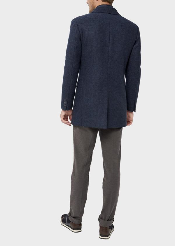 Manteau en laine mélangée bleu indigo à motif fantaisie - Father and Sons 36054