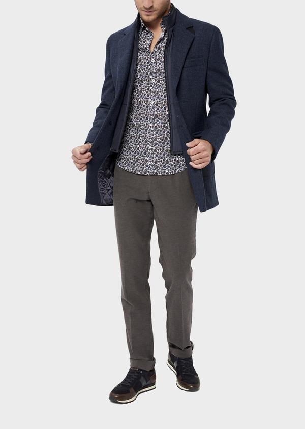 Manteau en laine mélangée bleu indigo à motif fantaisie - Father and Sons 36053