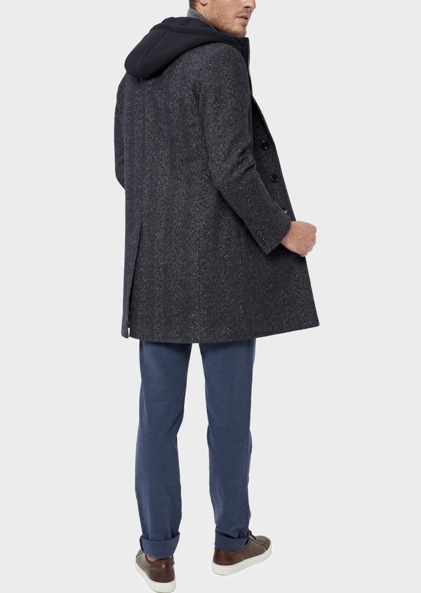 Manteau en laine mélangée bleu indigo à motif chevron et parementure à capuche amovible - Father and Sons 36061