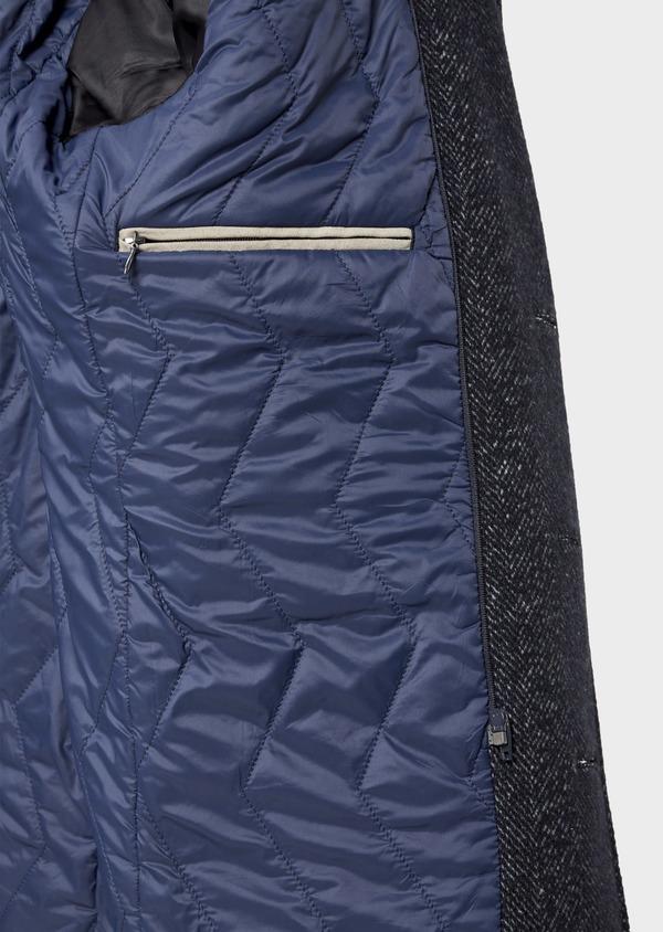 Manteau en laine mélangée bleu indigo à motif chevron et parementure à capuche amovible - Father and Sons 36063
