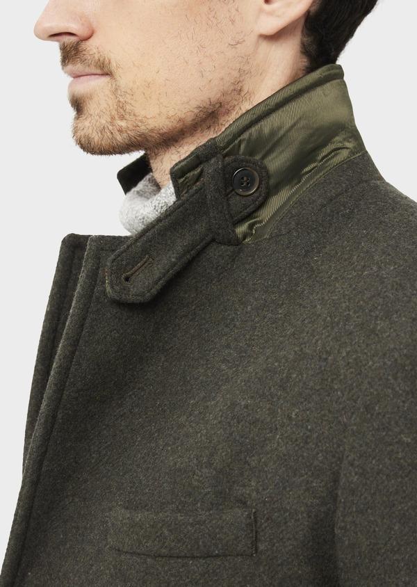 Manteau en laine mélangée à motif fantaisie vert kaki - Father and Sons 36752