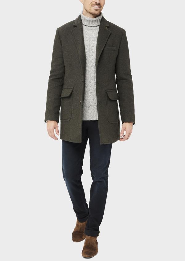 Manteau en laine mélangée à motif fantaisie vert kaki - Father and Sons 36750