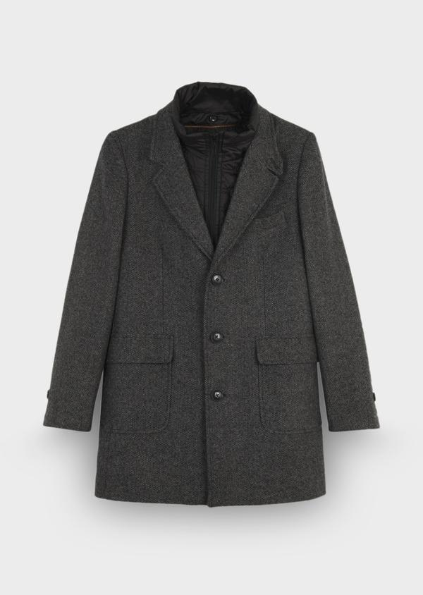 Manteau en laine mélangée gris anthracite chiné à doudoune amovible - Father and Sons 29449