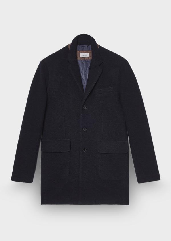 Manteau en laine mélangée bleu marine - Father and Sons 29430