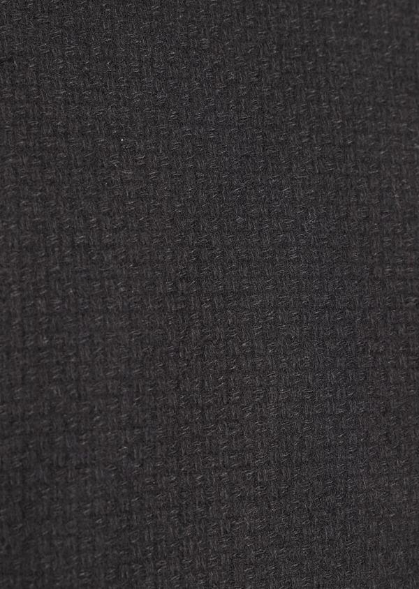 Manteau en laine mélangée unie noire à col amovible - Father and Sons 36761