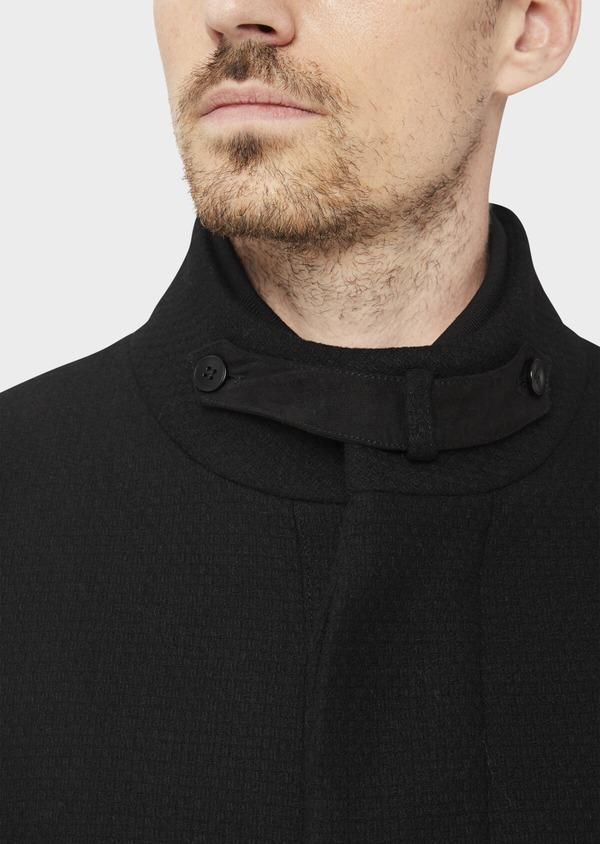 Manteau en laine mélangée unie noire à col amovible - Father and Sons 36764