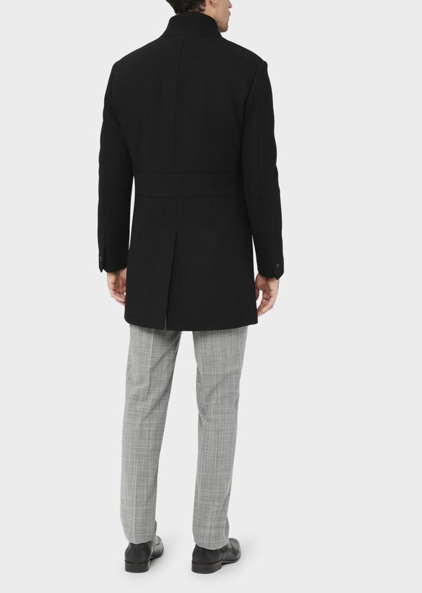 Manteau en laine mélangée unie noire à col amovible - Father and Sons 36763