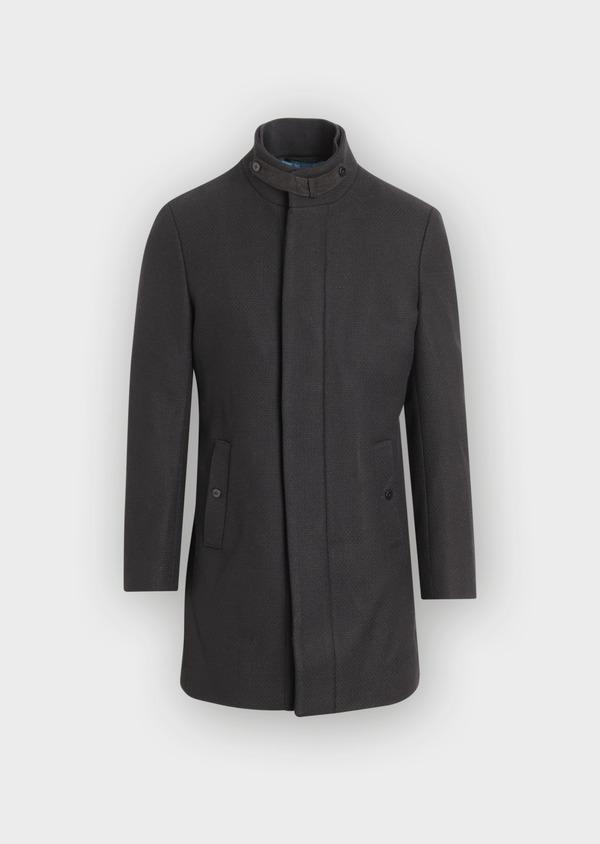 Manteau en laine mélangée unie noire à col amovible - Father and Sons 36760
