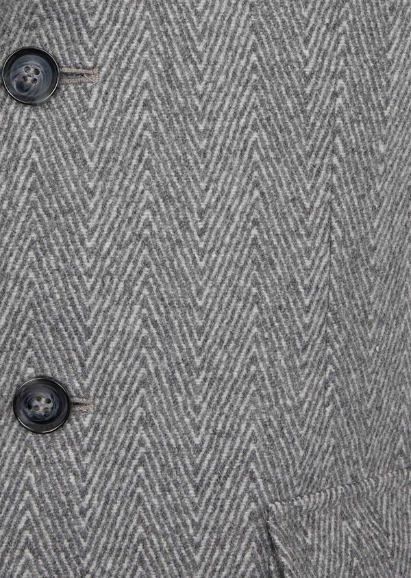 Manteau en laine mélangée à motif fantaisie gris - Father and Sons 36959