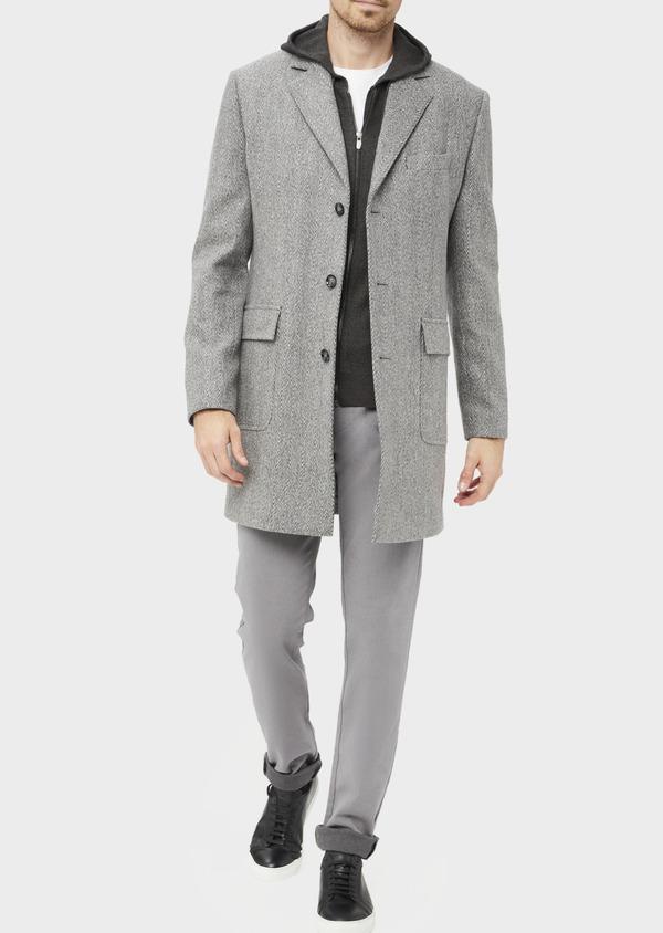 Manteau en laine mélangée à motif fantaisie gris - Father and Sons 36960