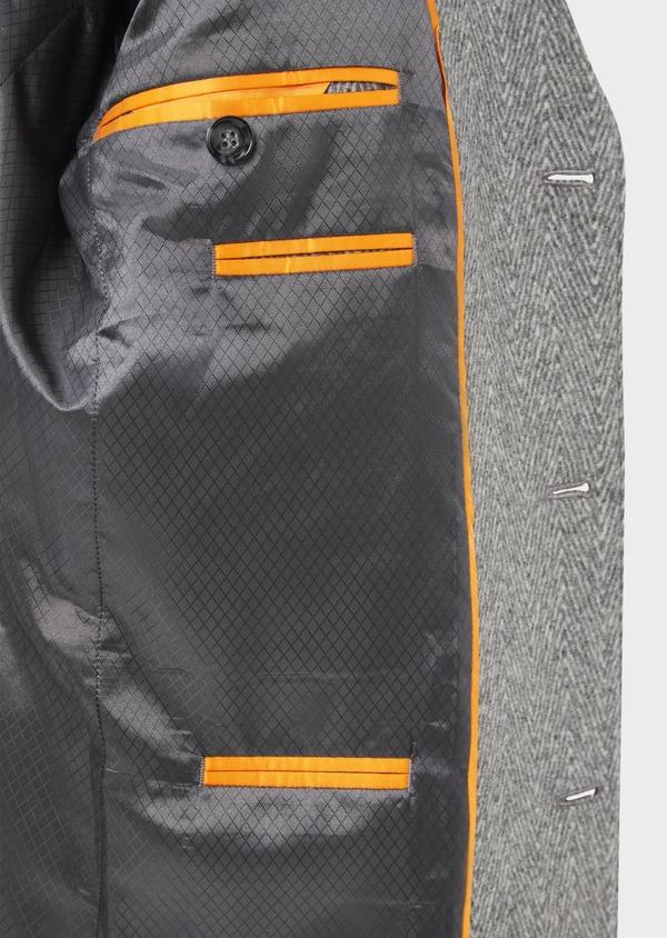 Manteau en laine mélangée à motif fantaisie gris - Father and Sons 36963