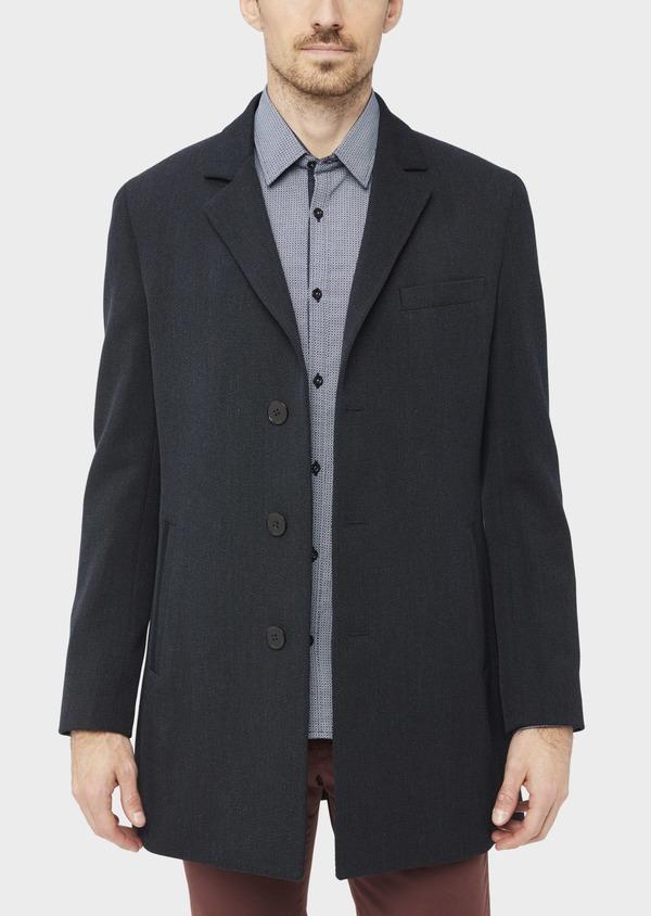 Manteau en laine mélangée unie bleu marine avec parementure amovible en suédine - Father and Sons 37190