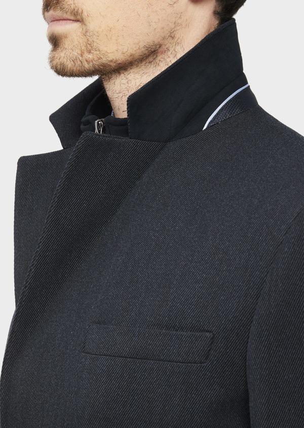 Manteau en laine mélangée unie bleu marine avec parementure amovible en suédine - Father and Sons 37188