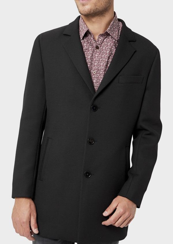 Manteau en laine mélangée unie noire avec parementure amovible en suédine - Father and Sons 36048