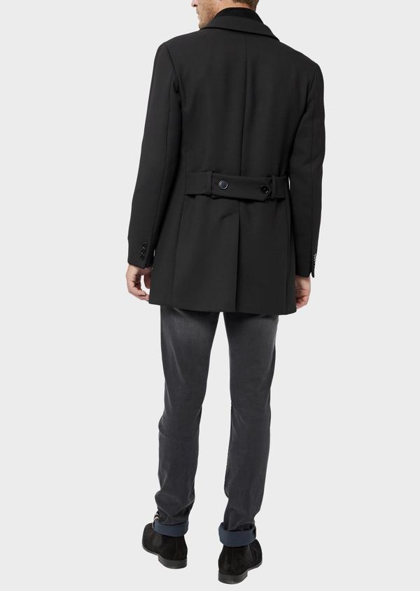 Manteau en laine mélangée unie noire avec parementure amovible en suédine - Father and Sons 36045