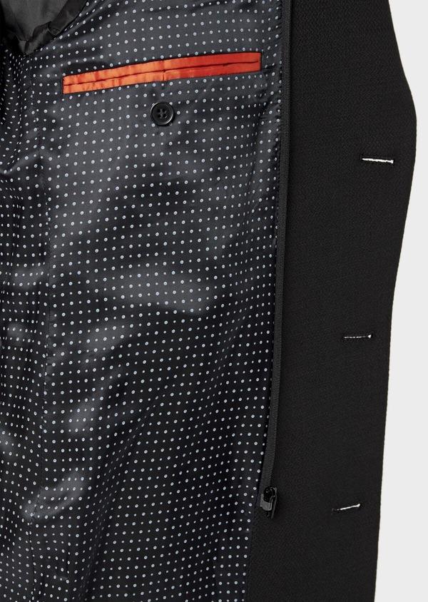 Manteau en laine mélangée unie noire avec parementure amovible en suédine - Father and Sons 36047