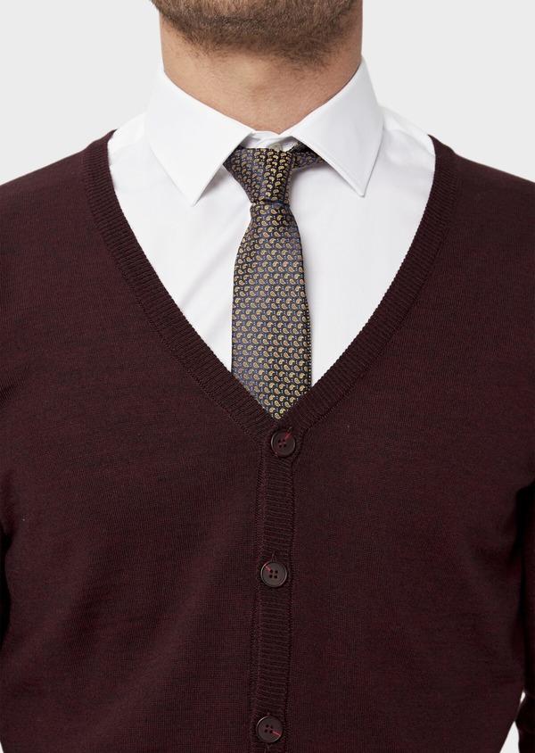 Cardigan en laine Mérinos mélangée unie bordeaux - Father and Sons 36388