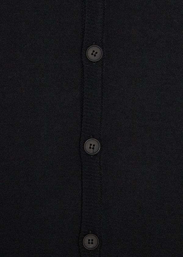 Cardigan en laine Mérinos mélangée unie noire - Father and Sons 37017