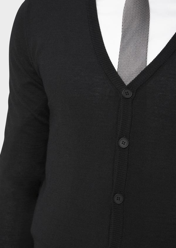 Cardigan en laine Mérinos mélangée unie noire - Father and Sons 37020