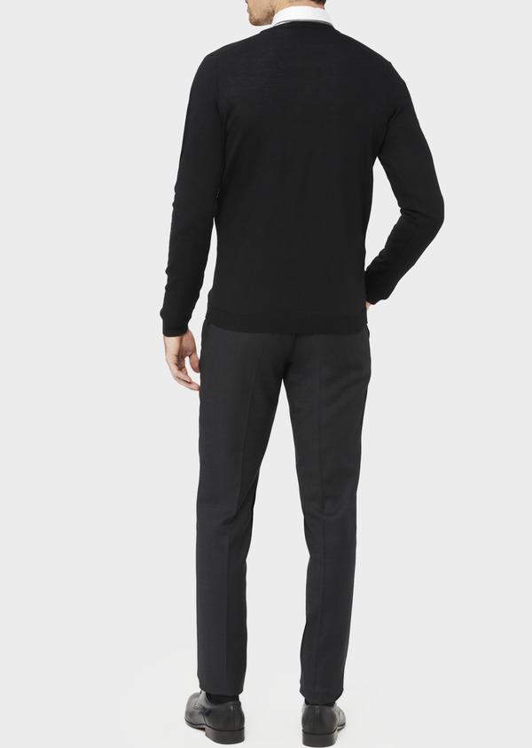 Cardigan en laine Mérinos mélangée unie noire - Father and Sons 37019