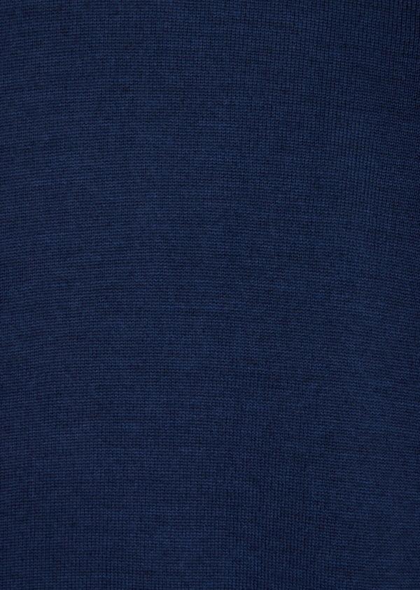 Gilet en laine Mérinos mélangée unie bleu indigo - Father and Sons 36557